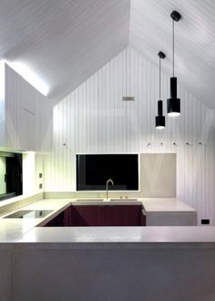 THE SHINGLE HOUSE  NORD ARCHITECTURE  DUNGENESS  UK  2010  KITCHEN ELEVATION AT NIGHT