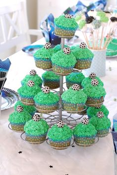 Cupcakes for a soccer fan.