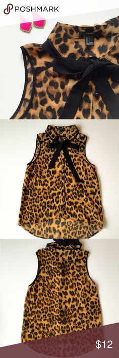 Leopard Print Blouse Super cute leopard print blouse with removable neck tie. Great condition, like new. Size S. Forever 21 Tops Blouses