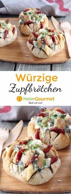 Genial: Würzige Zupf-Brötchen mit Käse These little buns with chorizo and blue cheese are covered in a jiffy and are perfect as finger food! Healthy Finger Foods, Party Finger Foods, Snacks Für Party, Healthy Snacks, Healthy Recipes, Brunch Recipes, Appetizer Recipes, Snack Recipes, Cheese Recipes