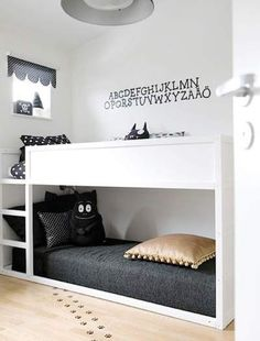 DIY: KURA Ikea cabin bed painted white and used as bunks Cama Ikea Kura, Ikea Bunk Bed Hack, Ikea Kura Hack, Ikea Hack Kids, Ikea Stuva, Modern Bunk Beds, Bunk Bed Designs, Kids Bunk Beds, Bunkbeds For Small Room