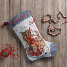 Olde World Santa Counted Cross Stitch Christmas Stocking Kit