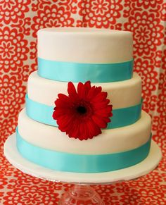 Red Turquoise Wedding Cake. CakeCentral.com
