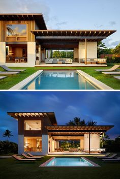 This modern beach house in Hawaii has a swimming pool surrounded by grass and sun-loungers. #SwimmingPool #ModernBeachHouse