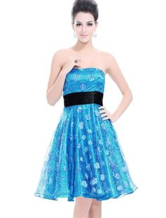 Ever Pretty Printed Strapless Blues Cocktail Homecoming Dresses 03462 , HE03462BL12, Blue, 10US