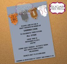 Onesie Sports Baby Shower InvitationPrintable by SugarTreePress, $12.00