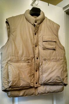 Down Puffer Khaki Hiking Fishing Vest sz L  Can be purchased on Ebay  search seller: agift4thrift