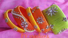 Silk Thread Bangles Design, Silk Bangles, Thread Jewellery, Handmade Jewellery, Diy Jewelry, Beaded Jewelry, Beaded Necklace Patterns, Jewelry Patterns, Fabric Earrings