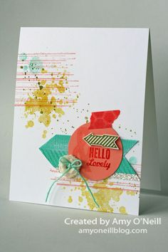 handmade greeting card .... Gorgeous Grunge (every stamp in the set used on this card) ... like the bright and cheerful look ... collage ...  montage of arrows, circle, button with twine, strip of glimmer and bit of washi tape ... luv the over-all look ... Stampin' Up!