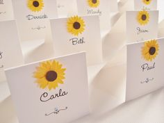 Personalised Handmade Sunflower Wedding Place by ohsopurrfect