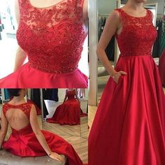 Red Open Back Elegant Charming Affordable Long Prom Dresses, WG501 The long prom dress is fully lined, 4 bones in the bodice, chest pad in the bust, lace up back or zipper back are all available. This