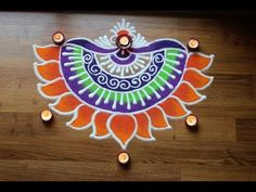Simple and Creative Rangoli designs with colours for Diwali - Freehand flower Rangoli Designs - YouTube