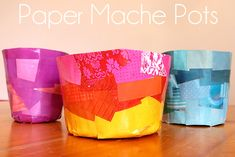 Paper Mache Pots from Recycled Magazine Pages | Childhood101