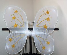 White Angel Butterfly Fairy Wings Fur Stars Toddler Girls Teen Adult Gold Glitter Costume Princess Pixie Bug Insect Popular