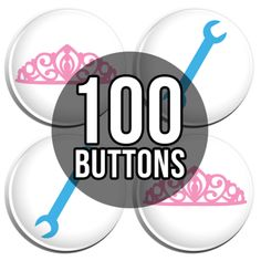 Pink Tiara & Blue Wrench Gender Reveal Baby Shower Button Badges - 100 Pack