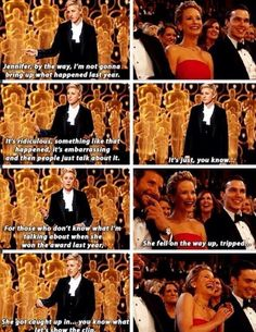 Ellen talking about Jennifer Lawerence's fall the year before at the 86th Oscar's