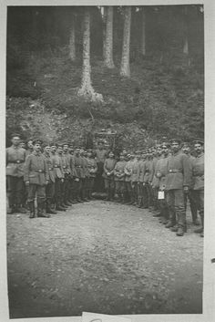 German Jewish soldiers including military doctor Max Scherk gathered for a World War I Yom Kippur service outdoors in a forest