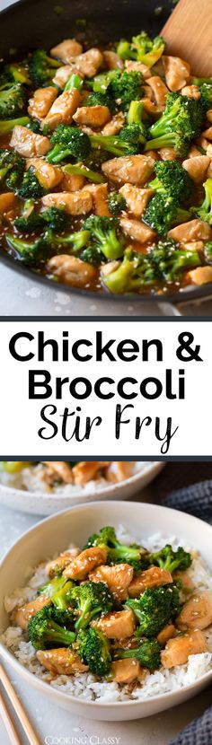 Chicken and Broccoli Stir Fry - Pan seared chicken and sautéed broccoli are covered in a sweet and salty teriyaki style sauce that will leave you wanting more! It's such an easy and flavorful recipe that's perfect for those hectic weekdays, plus it's sure to satisfy those Chinese take-out cravings.  via @cookingclassy Stir Fry Pan, Sauce For Stir Fry, Stir Fry Rice, Chicken And Broccoli Stirfry, Chicken And Broccoli Chinese, Easy Chinese Chicken Recipes, Chicken Stirfry Recipes, Healthy Chicken Stir Fry, Chicken Noodle Stir Fry