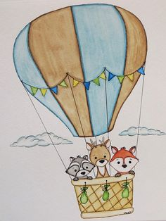 Watercolor painting, hot air balloon, little boy art, original painting, kids wall decor- This is an original 8 X 10 inch watercolor painting Black Art Painting, Baby Painting, Nursery Paintings, Animal Paintings, Nursery Art, Cute Kawaii Drawings, Cute Animal Drawings, Ballon Drawing, Mandela Drawing