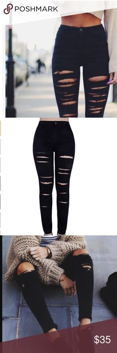 Black Distressed Skinny Jeans Please see last photo for measurements.   Material: cotton / spandex blend   Runs true to size Jeans Skinny