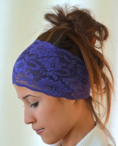 purple lace headband stretchy hair band yoga headband by bstyle, $11.00