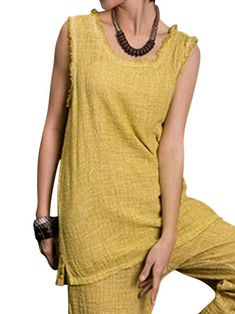 Casual Women Sleeveless Pure Color Split Hem Cotton Blouses