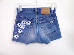 High Waisted White Daisies Floral Painted Denim Shorts