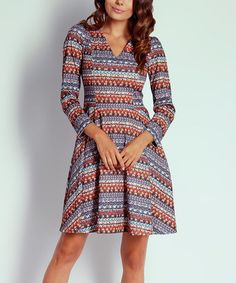 $44.99 This Blue & Red Geometric A-Line Dress is perfect! #zulilyfinds