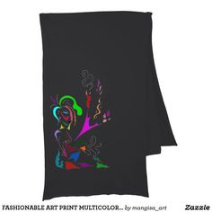 FASHIONABLE ART PRINT MULTICOLORED LADY FOR SCARF