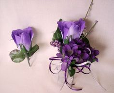 purple prom corsages | Prom Flowers Purple Homecoming Corsages by BudgetWeddingBouquet