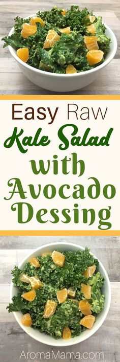 With my busy schedule, I need quick and easy recipes that are also healthy! This Easy Raw Kale Salad with Avocado Dressing is quick, easy, nutrient-dense and so delicious! This salad meets the standards for clean eating, Paleo, AIP, Keto, Vegan, and Whole30 diets. #cleaneating #raw #kale #salad via @thearomamama
