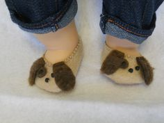 So cute, perfect for boy twin; 15 inch Doll Clothes fits Bitty Twins - Puppy Dog Slippers Brown. $8.00, via Etsy.