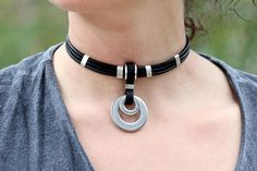 Leather choker O-ring  leather collar for women gothic