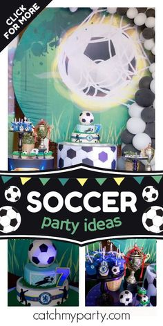 Check out this fun soccer themed birthday party! The cake is fantastic! See more party ideas and share yours at CatchMyParty.com #catchmyparty #partyideas #soccer #soccerparty #football #boybirthdayparty Soccer Birthday Parties, Birthday Drinks, Soccer Party, Party Drinks, Birthday Party Themes, Party Favors, Chelsea Team, Party Activities, Merlin