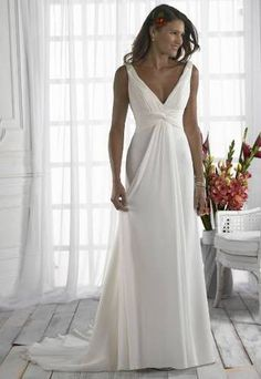Chiffon V Neck Grecian Beach Style Wedding Dress Size 6-8-10-12-14-16-18-20-22