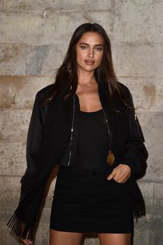 "midnight-charm: "" Irina Shayk attends the Givenchy Spring / Summer 2017 show on October 2, 2016 in Paris, France """