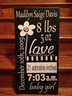 Great Gift 12x24 Baby Girl Subway Word Art By by TheWordSister, $45.00