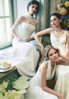 I love the one in the back with the lace sleeves and high collar. Gorgeous!