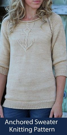 """Knitting pattern for nautical themed pullover sweater with cable anchor on the front. Worsted weight yarn. Sizes 32, 36.5, 40, 42.75, 47, 50.75, 55, 58.75, 61.25, 65""""/81.5, 93.5, 101.5, 108.5, 119.5, 128.5,140, 149, 156, 165 cm. Designed by Alicia Plummer."""