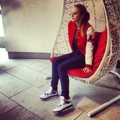 Girls Love Air Jordan 4s Jordans Girls, Air Jordans, Like Mike, Sporty Outfits, Tomboy, Swagg, Shoe Game, Kicks, Leather Jacket