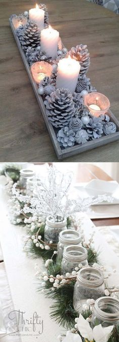 27 gorgeous & easy DIY Thanksgiving and Christmas table decorations & centerpieces! Most can be made in less than 20 minutes, from things you already have! - A Piece of Rainbow diy 27 Gorgeous DIY Thanksgiving & Christmas Table Decorations & Centerpieces Noel Christmas, All Things Christmas, Simple Christmas, Christmas Ornaments, Christmas Candles, Christmas Ideas, Christmas 2019, Christmas Music, Christmas Movies