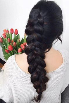 Simple Dutch Braid on @takarawong <3 Takara is wearing a few wefts of the…
