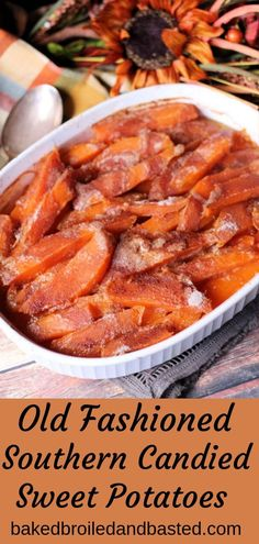 Southern Candied Sweet Potatoes This old fashioned dish has very simple ingredients and cooked with lots of love. These gooey sticky candied sweet potatoes are well worth the work. Sweet Potato Casserole, Sweet Potato Recipes, Side Dish Recipes, Vegetable Recipes, Thanksgiving Recipes, Holiday Recipes, Christmas Recipes, Candied Sweet Potatoes, Cooking Sweet Potatoes