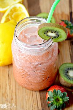 This easy drink recipes is perfect for your summer bbq parties. Packed with fresh strawberries and kiwis, the whole family will love this easy summer drink recipe.