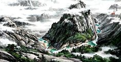 "(North Korea) Eight Ponds in Mt Geumgang by Eom Jun-hong ""엄준홍""의 작품「들꽃 핀 언덕」. 작가는 1944"