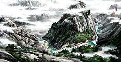 "(North Korea) Eight Ponds in Mt Geumgang by Eom Jun-hong ""엄준홍""의 작품「들꽃 핀 언덕」. 작가는 1944"
