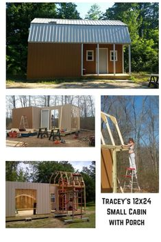 Tracey and his wife used my barn with porch plans to build their cabin in the woods. These plans are great for building your tiny house, small cabin with loft, craft studio, workshop, or backyard home office. Small Barn Plans, Small Barns, 3d Building Models, Building A Shed, Building Design, Man Cave Shed Plans, 12x8 Shed, Prefabricated Sheds, Shed With Porch