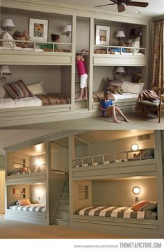 This is a really awesome way for a shared girl's bedroom without taking too much room up in the actual bedroom.