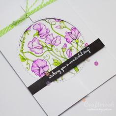 Craftmosh: Power Poppy Sweet Pea Show digital stamp, card design by Jenny Colacicco.