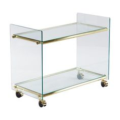 Image of Vintage Italian Brass and Glass Bar Cart, 1950s